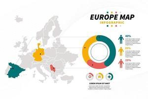 presentazione di progettazione infografica mappa europa con grafico e icona vettore