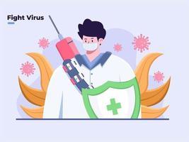 illustrazione piatta medico pronto a combattere il coronavirus covid-19, proteggere dal coronavirus, preparare il virus covid-19 della seconda ondata, il virus corona la prossima ondata, non aver paura covid-19, attaccare il virus corona. vettore