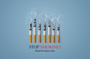 grafica antifumo con sigarette accese fatte di singole persone vettore