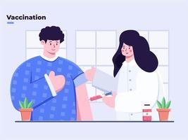 illustrazione piatta vaccinazione del coronavirus covid-19, iniettare il vaccino covid-19, medico che somministra un vaccino contro il coronavirus a un giovane, inietta il vaccino covid-19 con la siringa in braccio, primo vaccino precoce. vettore