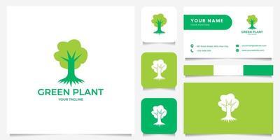 logo di illustrazione albero semplice con modello di biglietto da visita vettore