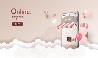 banner di vendita per lo shopping online su smartphone vettore