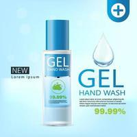 gel medico per il lavaggio delle mani, flacone trasparente nell'illustrazione 3d