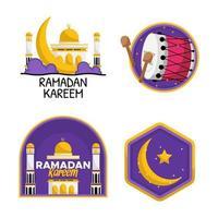 set di adesivi di saluto di ramadan kareem vettore
