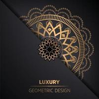 fondo dorato del modello di stile di mandala di lusso vettore