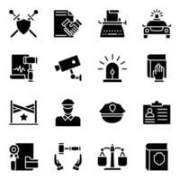 pacchetto di icone solide della giustizia vettore