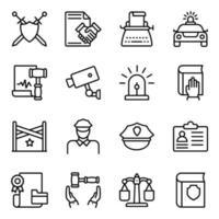 pacchetto di icone lineari della giustizia vettore