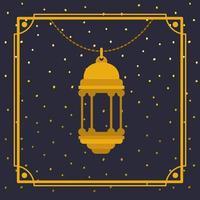 cornice dorata ramadan kareem con lampada a sospensione vettore