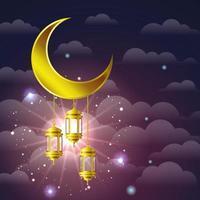 lampade dorate di ramadan kareem appese alla luna vettore