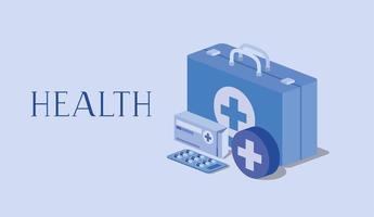 kit medico di pronto soccorso e scatola dei medicinali vettore