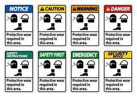 è richiesto un abbigliamento protettivo in questo set di segnaletica di area vettore
