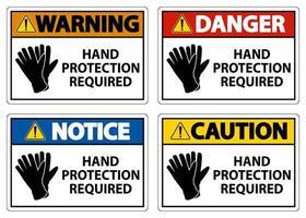 segno di protezione delle mani richiesto impostato su sfondo bianco vettore