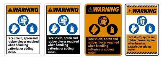 segnale di avvertimento schermo facciale, grembiule e guanti di gomma obbligatori set di segni vettore