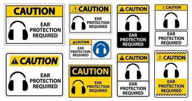 attenzione protezione per le orecchie richiesto set di simboli vettore