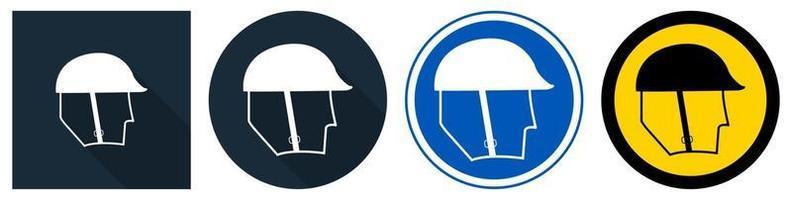set di segni di protezione della testa di usura simbolo vettore