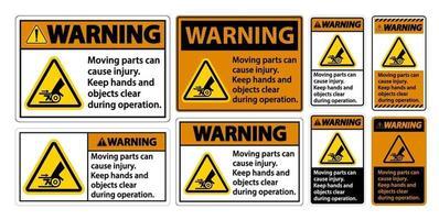 set di segni di avvertimento parti mobili vettore