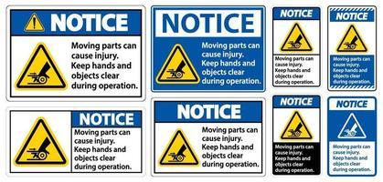 notare che le parti in movimento possono causare lesioni vettore