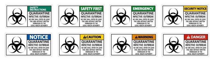 set di segni di focolaio infettivo di quarantena vettore