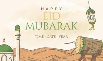 banner di eid al fitr felice disegnato a mano con illustrazione di ornamento islamico vettore