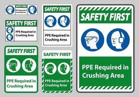 primo segno di sicurezza DPI richiesto nel set di segnali dell'area di schiacciamento vettore