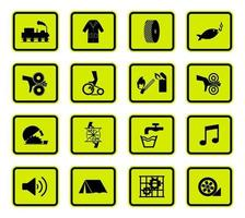 segni di avvertimento simboli di pericolo etichette impostate vettore