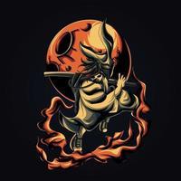 illustrazione di opere d'arte di samurai cool vettore