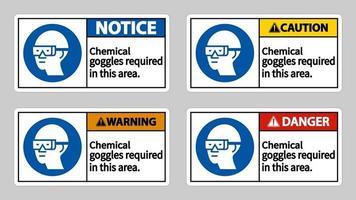 occhiali protettivi chimici richiesti in questo set di segnali di area vettore