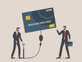 uomo d'affari che soffia una carta di credito, concetto di debito aziendale aggiuntivo vettore