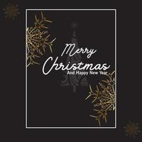 buon natale e felice anno nuovo carta dorata vettore