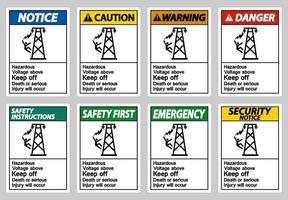 tensione pericolosa sopra tenere fuori la morte o gravi lesioni si verificheranno set di segni vettore