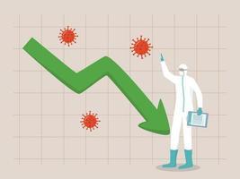 grafico di riduzione dei casi di coronavirus. fine della pandemia. personale medico in prima linea in piedi con grafico o grafico di casi di spike covid-19 vettore