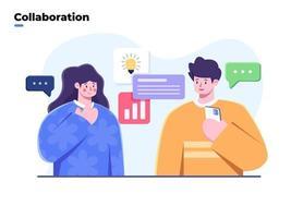 illustrazione piatta di progetti di brainstorming e sviluppo del team aziendale, idea di condivisione del team creativo, collaborazione del team di lavoro, ricerca di soluzioni, risoluzione dei problemi, lavoro di squadra del team aziendale. vettore