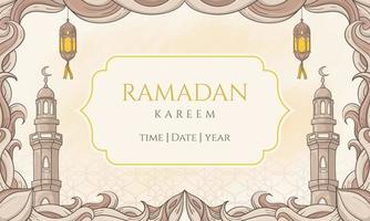 ramadan kareem disegnato a mano con ornamento islamico. perfetto per biglietto di auguri o banner vettore