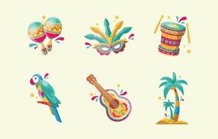 set di icone colorate di carnevale di rio de janeiro vettore
