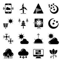 pacchetto di icone solide previsioni del tempo vettore