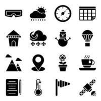 pacchetto di icone solide di tempo nuvoloso vettore