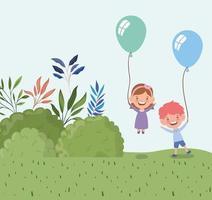 bambini piccoli felici con palloncini all'aperto vettore