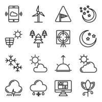confezione di icone lineari di previsioni del tempo vettore