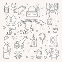 Ramadan Kareem doodle disegnati a mano illustrazione vettoriale