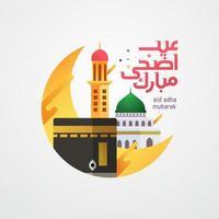 eid adha calligrafia araba con moschea e luna vettore