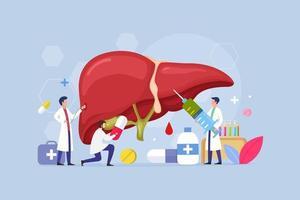 concetto di design moderno processo di trattamento delle malattie del fegato vettore