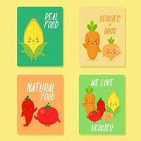 raccolta di carte cibo disegnato a mano vettore