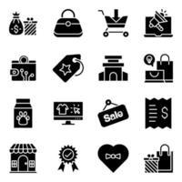 pacchetto di icone solide dello shopping e del commercio vettore