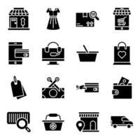 confezione di icone solide dello shopping vettore