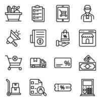 pacchetto di icone lineari di commercio vettore