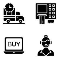 pacchetto di acquisto e acquisto di icone solide vettore