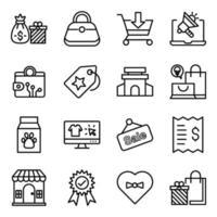 confezione di shopping e commercio icone lineari vettore