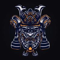 illustrazione del materiale illustrativo del guerriero samurai vettore