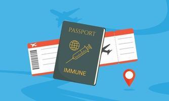 passaporto immunitario illustrazione piatta, passaporto immunitario covid-19 e carta d'imbarco. vettore