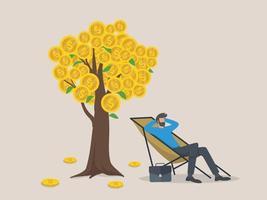 concetto di reddito, stipendio e profitti passivi, un uomo si rilassa aspettando i soldi. vettore